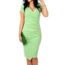 Feibushi краткое сплошной большой Размеры женские офисные короткий рукав Карандаш Bodycon Вышивка Крестом Пакет бедра плиссированные тонкий платье vestidos 3187