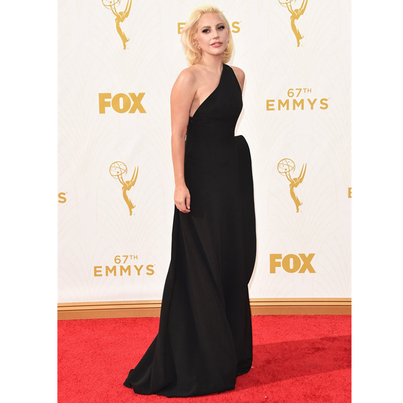 Elegant Lady Gaga Red Carpet Dresses 67th Emmy Awards A line Sexy Black Chiffon Party Gown Ruched One Shoulder Celebrity Dresses