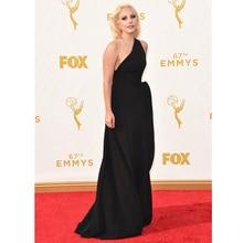 22d17b626f1 Elegant Lady Gaga Red Carpet Dresses 67th Emmy Awards A line Sexy Black  Chiffon Party Gown