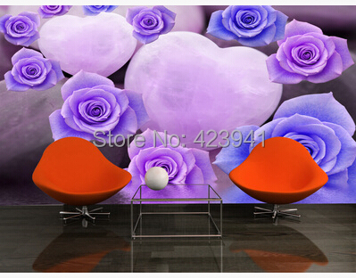 Can Be Customized 3D Visual Space Home Decoration Large Mural Art Wallpaper Bedroom Purple Rose Personality Wall Sticker Photo