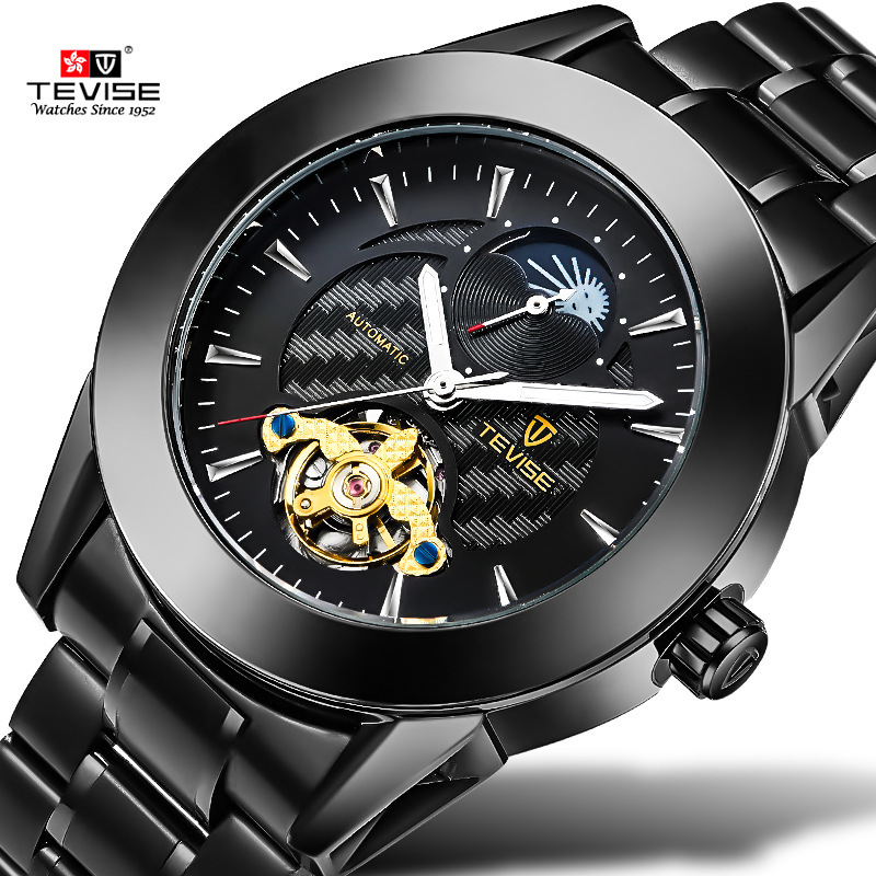 цена на Tevise Black Automatic Watch Men Moon Phase Mens Mechanical Watches Top Brand Luxury Clock Luminous Hands Wristwatch Kol Saati
