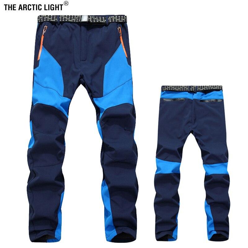 Fleece Lining Camping Hiking Pants Men Winter Warm Waterproof Trousers Outdoor Sport Trekking Ski Pants AD235 M-3XL