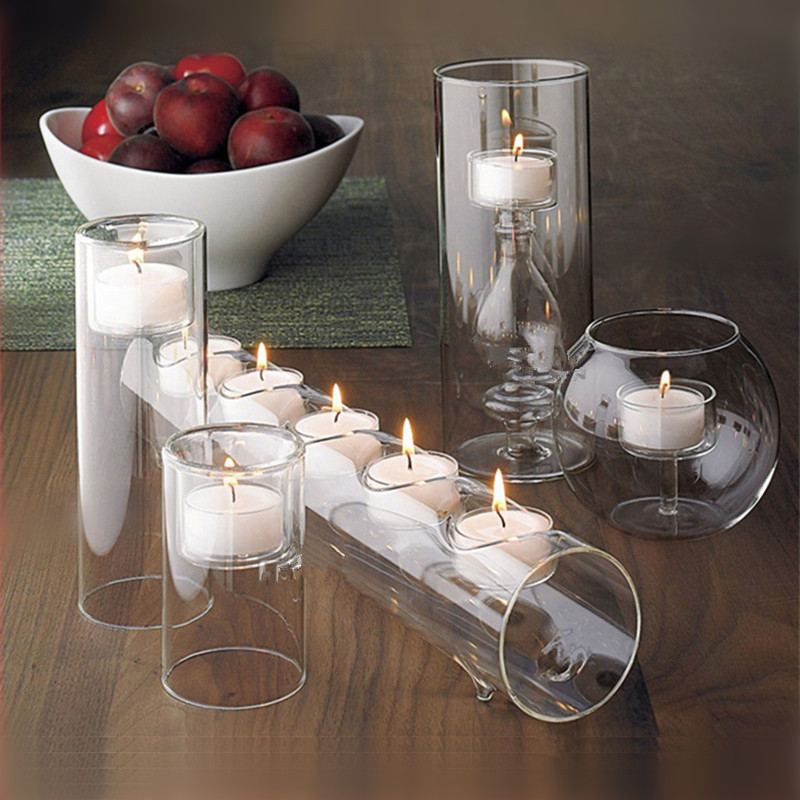 5pcs Set Modern Glass Candle Holder Crystal Candlesticks