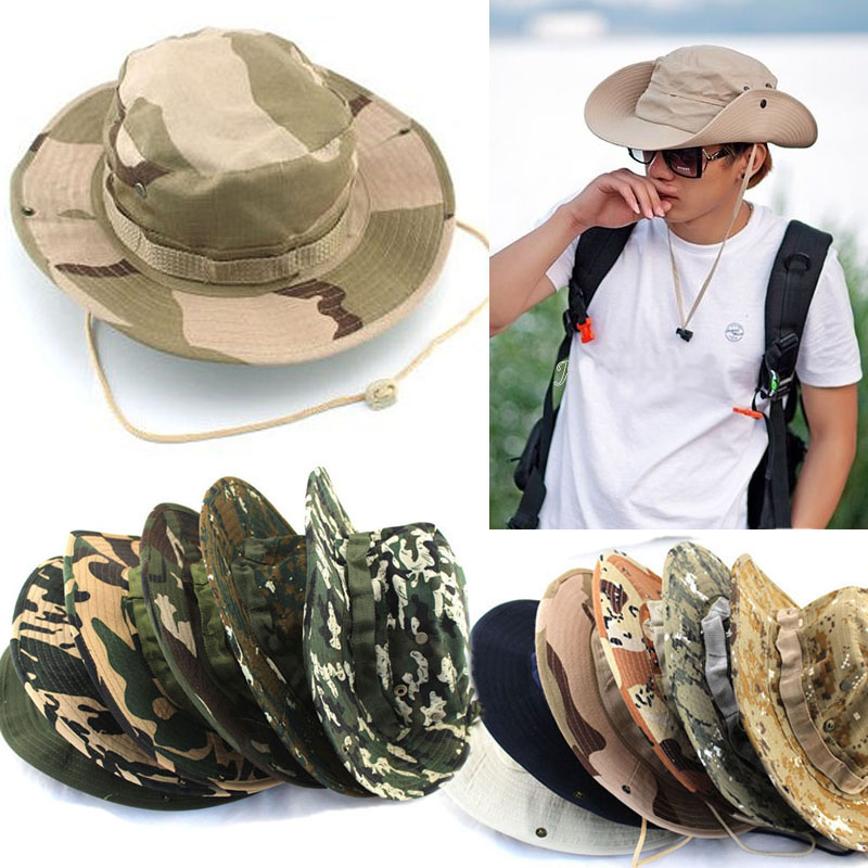 Hot Sale Summer Men Military Camo Bucket Hat with Strings Travel Sniper Wide Brim Boonie Hat 19 Colors C3051a