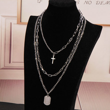 Multilayers Punk Silver Chains Cross Necklace