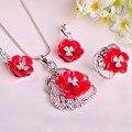 2016 marca de Design Coral flor conjuntos de jóias Rhodium cheio cristais pingentes brincos de belas único amor anéis para o casamento