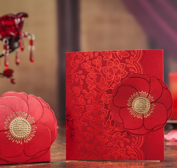 2017 New 50pcs Wishmade Cw6062 Original Indian Red Flower Decoration Wedding Invitation Card With One Page Inner Sheet Envelope