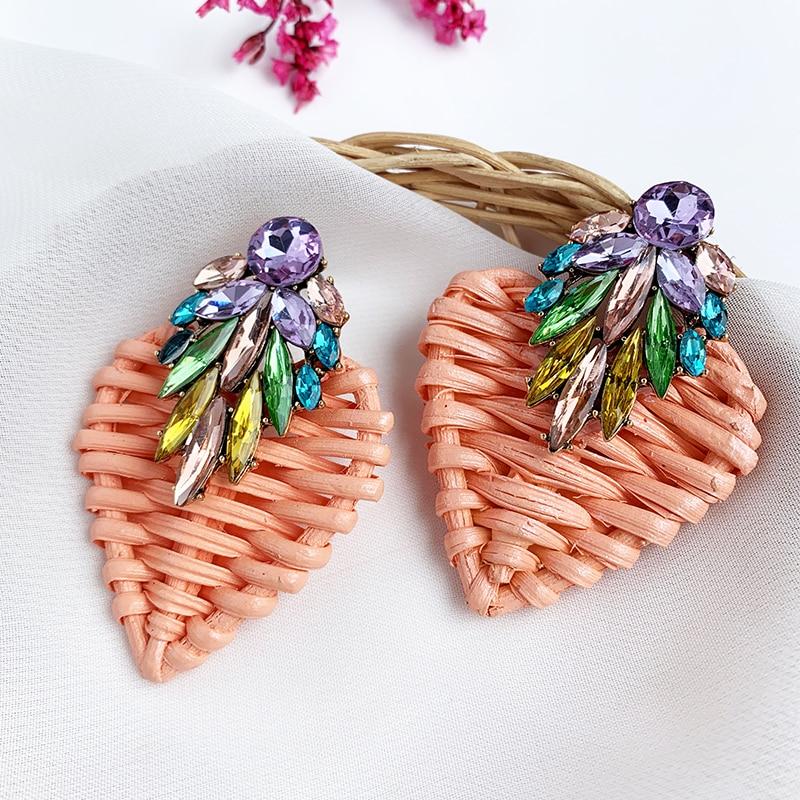 Heart Rattan knit Wooden Drop Earrings Vintage Handmade Crystal Bee Dangle Earrings Party Statement 2019 Women Jewelry Wholesale