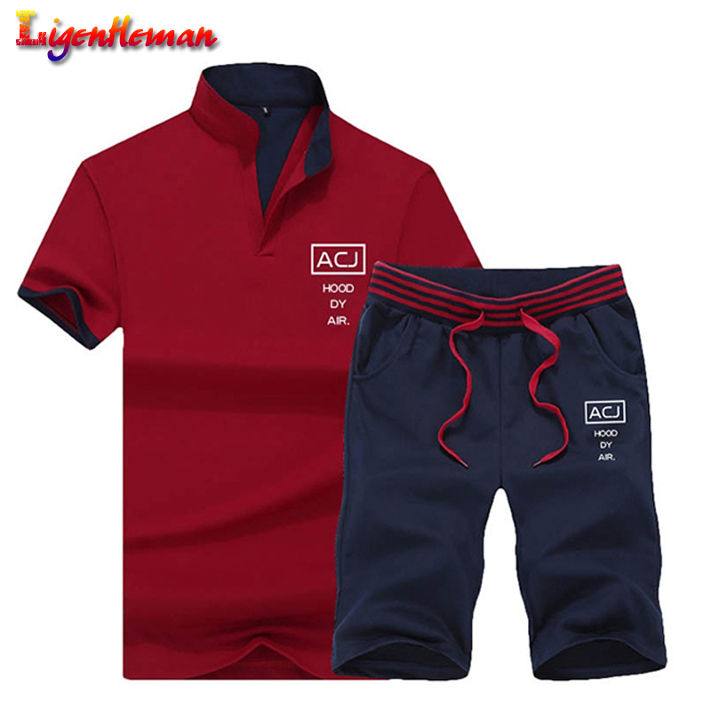 Summer Men Sportsuits Set 2019 Mens Stand Collar Fashion 2 Pieces T-shirt Shorts Tracksuit Brand Fitness Suits 2PC Top Short Set