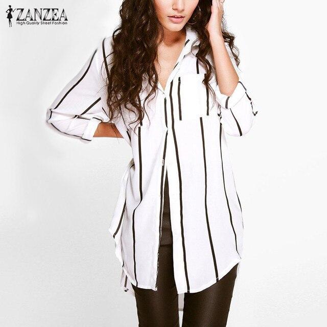 f65dc49f8 Zanzea moda blusas 2017 mujeres sexy larga para mujer camisa a rayas de  cuello de solapa