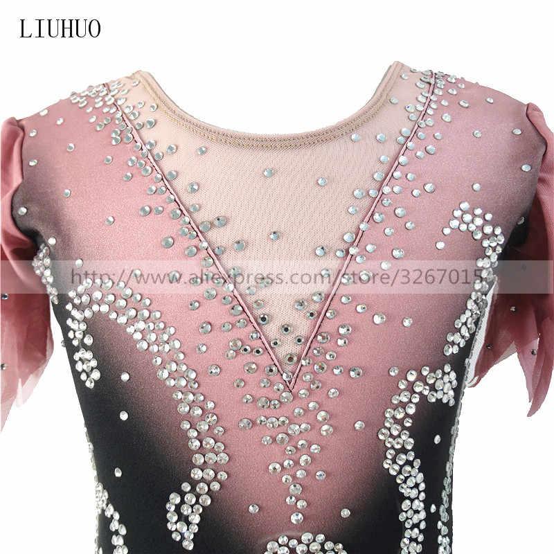 Платье для фигурного катания для соревнований по фигурному катанию юбки для конькобежцев для девочек женские черные серые градиентные сверкающие стразы