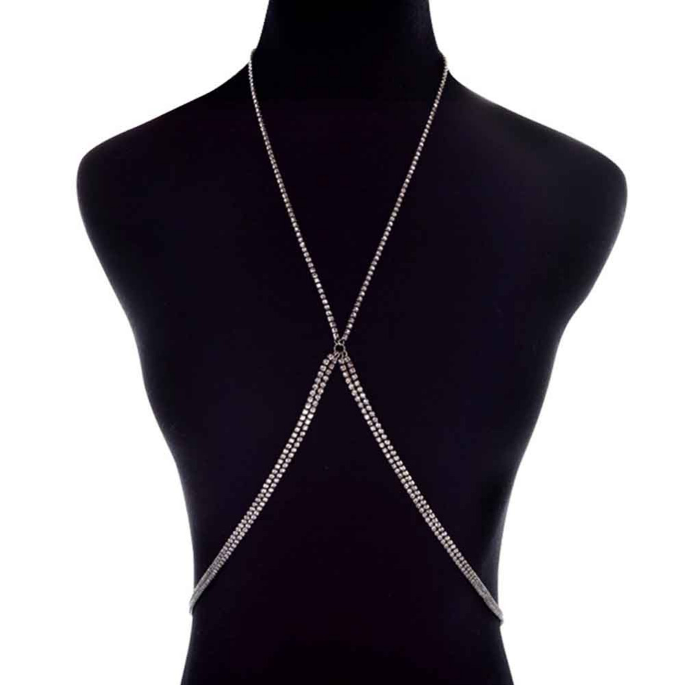 Luxury Rhinestones Inlaid X Shape Sexy Body Chain Silver Gold Crystal Cross Body  Jewelry Bikini Beach Maxi Choker-in Body Jewelry from Jewelry   Accessories  ... 6bd50fa8b95f