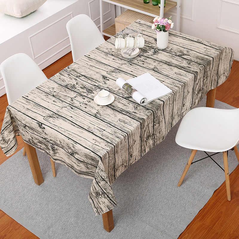 الخشب صورة مفرش طاولة مطبوع بسيط القطن الكتان مفرش المائدة للمطبخ ديكور المنزل الكلاسيكية غطاء طاولة طعام