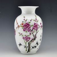 Free Shipping Mini delicate chinese famille rose porcelain flower vase birds and flower for home decor