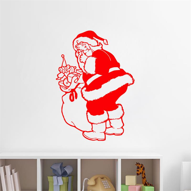 santa claus send a gift merry chtistmas wall sticker window glass sticker christmas party decoration store - Party Decoration Stores