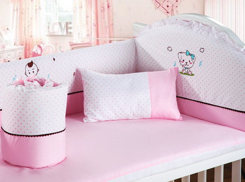 Promotion! 6PCS baby bedding set cotton baby boy bedding crib sets bumper for cot bed,include(4bumpers+sheet+pillow)
