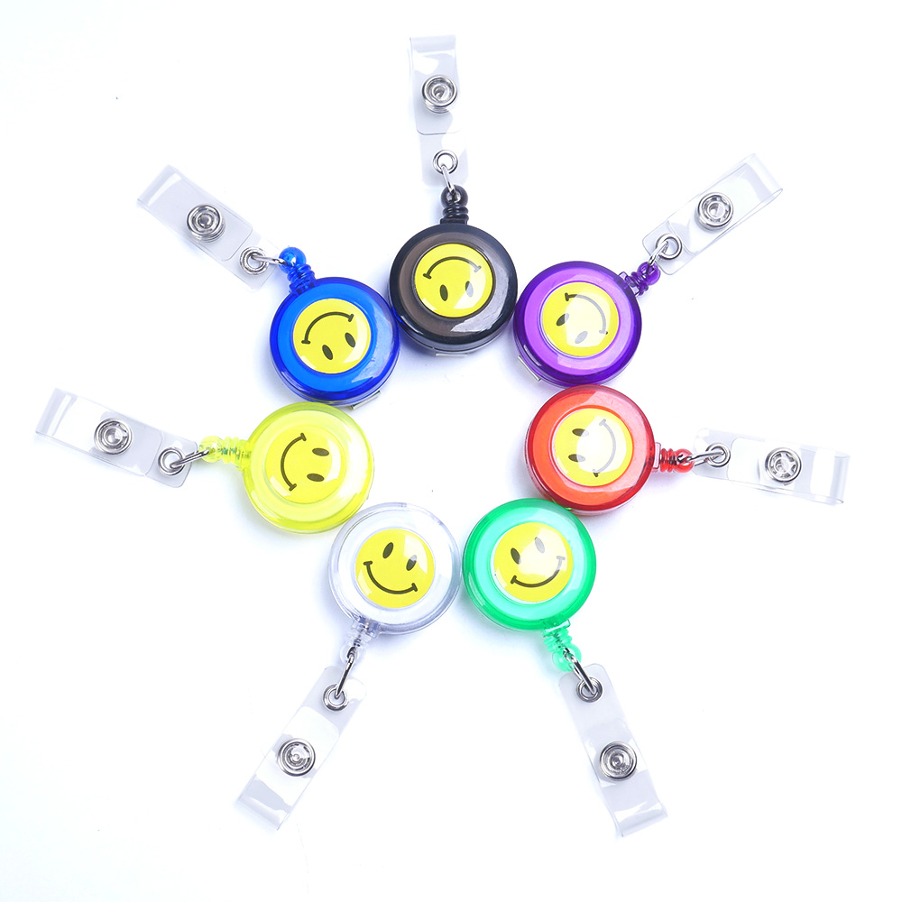 Smiling Face Name Tag Cards key Badge Holder Retractable Round Solid Translucent