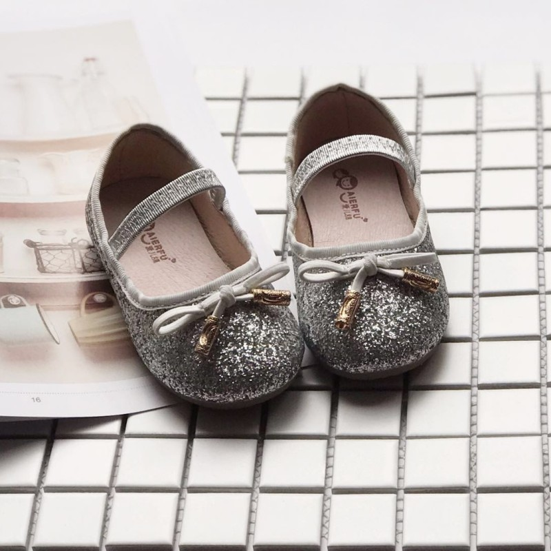 Fashion Baby Girls Princess Shoes Bowknot Sequins Girls Leather Shoes Brand Kids Non-slip Sneakers For Children 1-5T