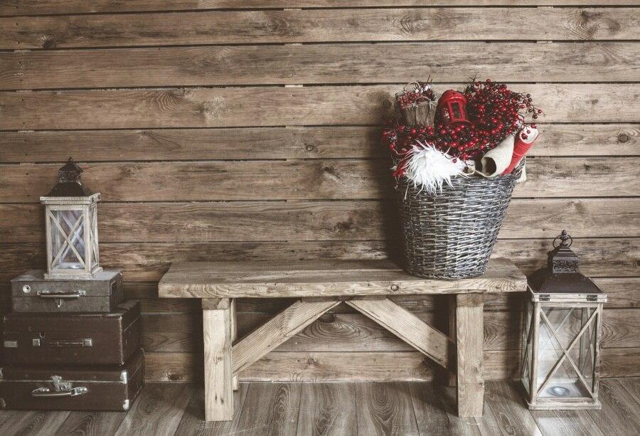 Laeacco деревянная доска Bench чемодан лампы корзина фотографии Фоны индивидуальные фотографические фонов для фотостудии