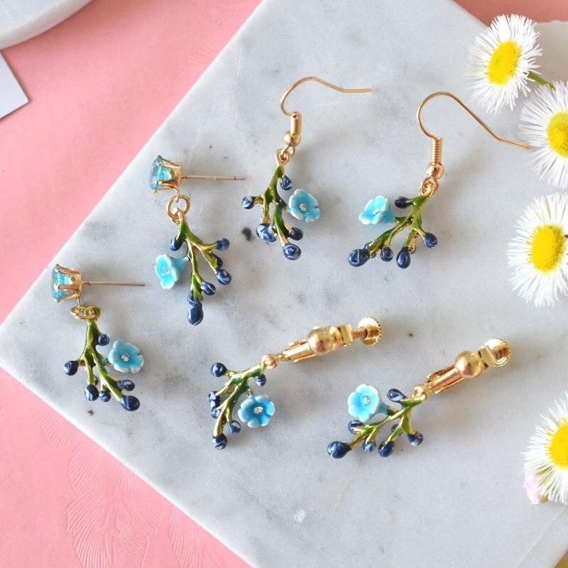 Warmhome Trendy Jewelry Enamel Glaze Copper Fashion Cute Blu