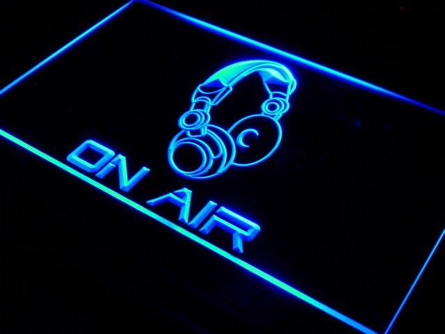 s013 on air headphone headset studio led neon light sign on off