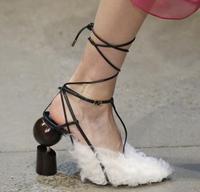 Новые модные женские черные, белые, розовые, красные, синие Меховые Туфли лодочки на необычном каблуке, толстый каблук, перекрестная шнуровк