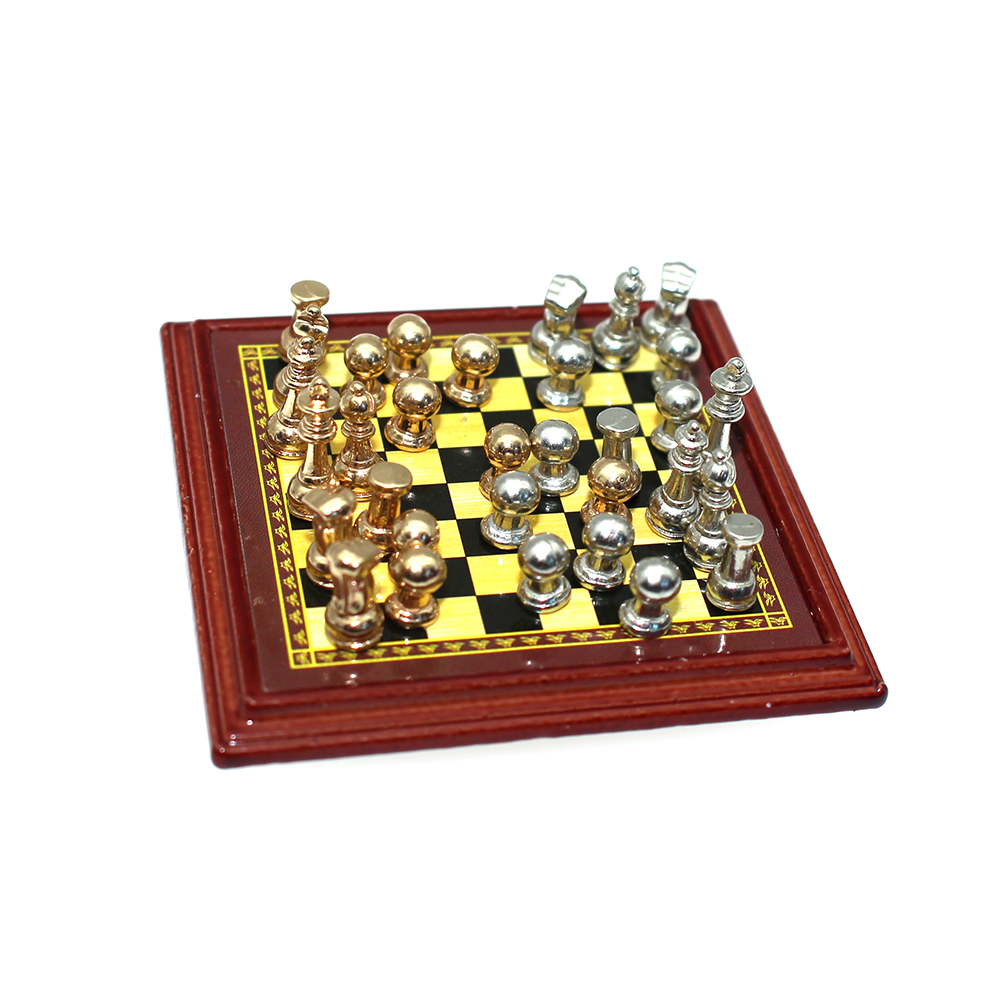 INJORA 1:12 Dollhouse Miniature Accessories Mini Chess Simulation Furniture  For Doll House Home Decoration