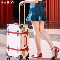 Ретро Дорожный чемодан на колесиках модный вращающийся багажник Женская мода caibin тележка чемодан из искусственной кожи Дорожный чемодан