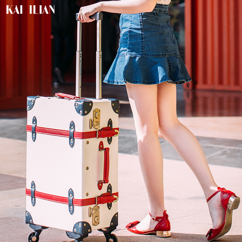 Retro Travel Suitcase On Wheels Fashion Spinner Rolling Luggage Women Fashion Caibin Trolley Suitcase PU Leather Road Suitcase