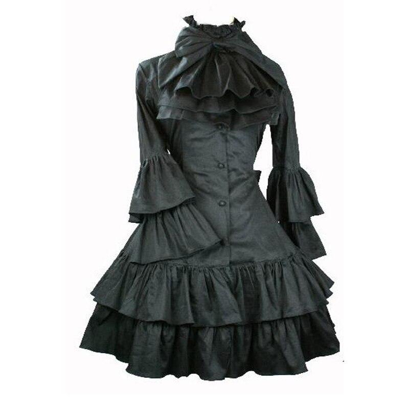Lolita robes gothique princesse Lolita robe Preppy Style Flare manches gothique Palace noir crème Cosplay robes livraison gratuite