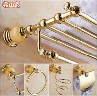 Lavatory jade copper gold towel rack bathroom European towel hang bathroom rack hardware pendant suit