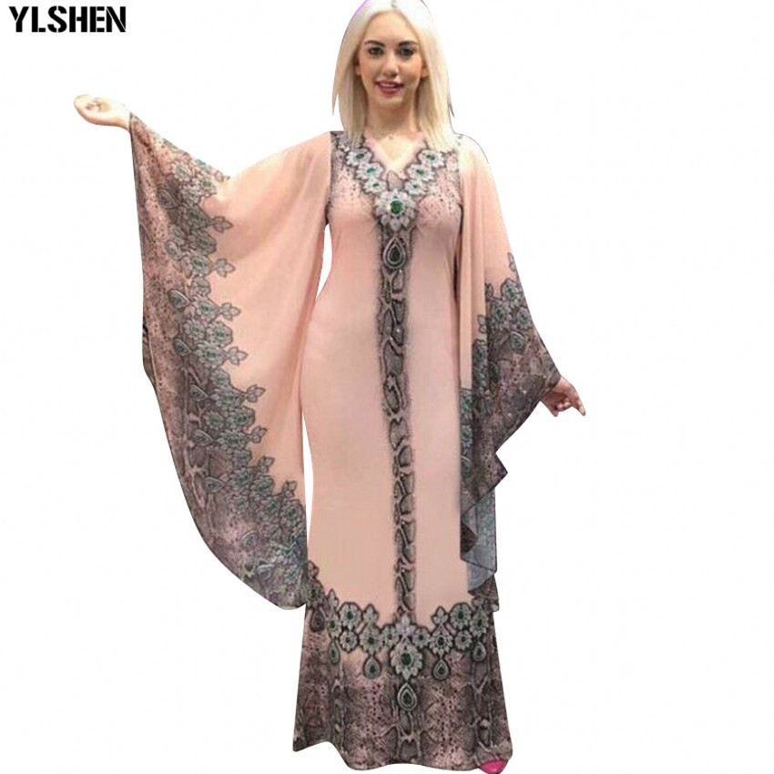 New African Dresses for Women Dashiki Print African Clothes Bazin Riche Sexy Slim Ruffle Sleeve V-neck Evening Long Africa Dress