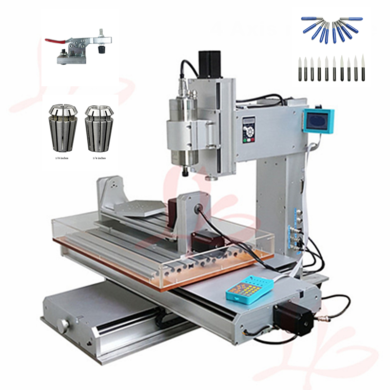 4 axis cnc 3040 2200w spindle 3 axis metal engraving machine er20 collet wood router with limit switch and free cutter 5 axis cnc router 3040 2200W water cooled spindle metal engraving machine