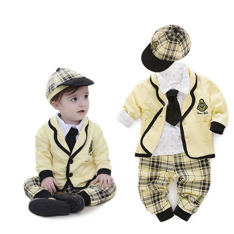 Nyan Cat Baby boy sets cotton shirt+plaid pants+coat+hat ...