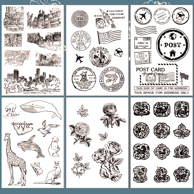 vintage postmark transparent silicone clear stamp for scrapbooking album DIY craft decoration rubber stamp kids stationery lovely animals and ballon design transparent clear silicone stamp for diy scrapbooking photo album clear stamp cl 278