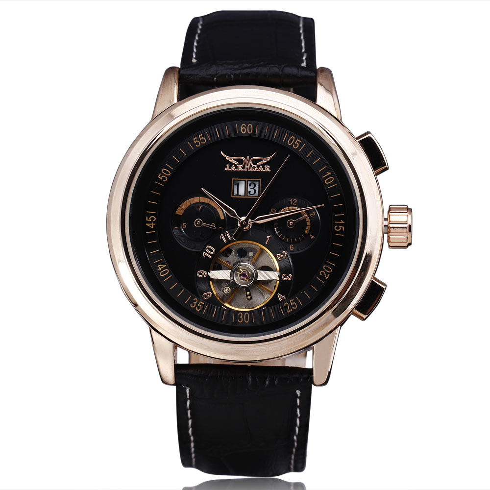 2016 Fashion Jaragar Mechanical Watches Men Luxury Brand Tourbillon Automatic Calendar Week Dial Leather Strap Dress Wristwatch 2016 jaragar fashion automatic mechanical men dress watches 24 hour week date solid dial leather band simple wristwatch gift