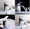 Chrome Brass Waterfall Bathroom Basin Faucet Sink Mixer Tap Single Handle