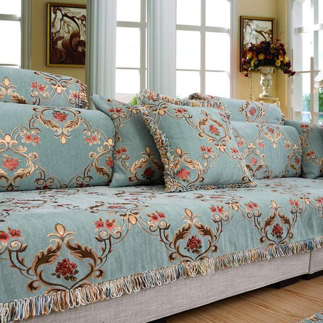 European Blue Sofa Towel Cushions