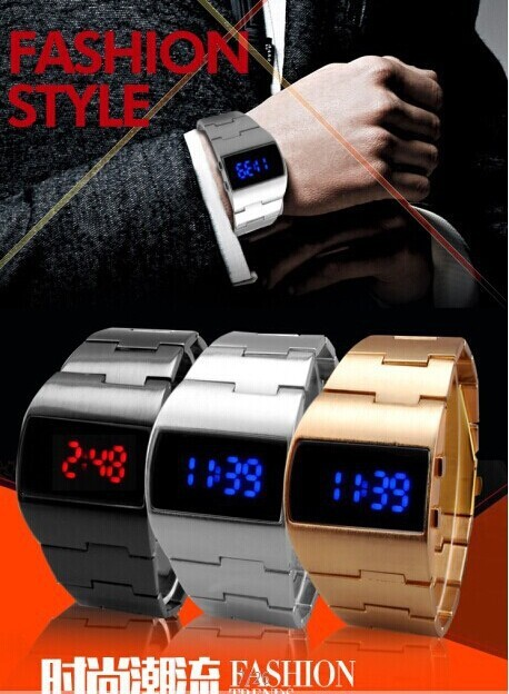 New Fashion Design Blue LED Light Dot Matrix Mens aviation WATCH free shipping! 1PCS/lot
