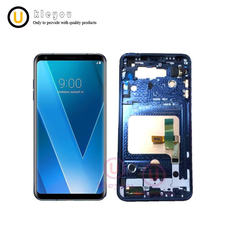 Синий 6,0 для LG V30 плюс H930DS v30 v30 + ЖК дисплей с Сенсорный экран планшета с рамкой Ассамблея Замена дисплея бесплатная доставка