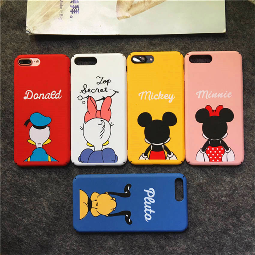 Cute Mickey Donald Duck Dog Cartoon Cases For iPhone 7 6S Case Coque Frosted Hard Phone Cases Cover For iPhone 6 Plus 7Plus Capa