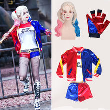 Girls Kids Harley Quinn Costume Cosplay JOKER Suicide Squad Cosplay Halloween Purim Jacket sets Chamarras De Batman Costume Wigs(China)