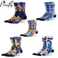 2017 NEW Creative Happy Socks Men Fashion Graffiti Art Socks Color Printing Socks Sprouting Socks