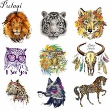 Pulaqi Cartoon Animal Skull Heat Transfer For T-Shirts Iron on Transfers Patches Thermal Press Fabric Clothing Stickers DIY E