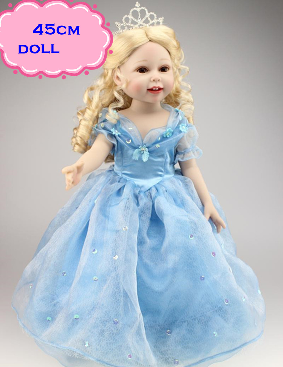 18inch NPK Full Vinyl Silicone American Girl Doll In Blue Skirt Like An Elegant Queen As Best Gifts For Kids Play Munecas Toys tiny floral drawstring vintage dress