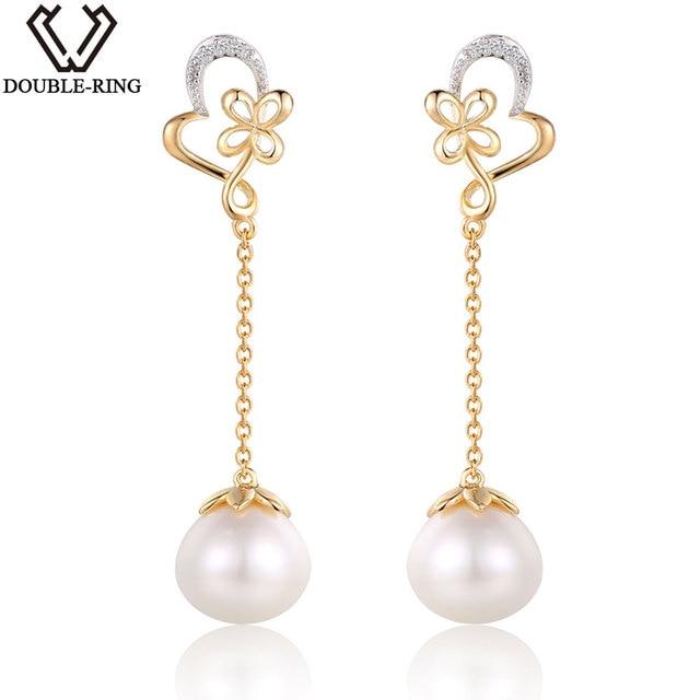DOUBLE-R Real 925 Sterling Silver Pearl Main Stone Fine Jewelry Bijouterie drop Earrings Women Natural Pearl Jewelry CASE00912A
