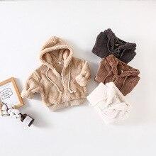Г. Новое поступление, зимнее хлопковое однотонное утепленное бархатное пальто с капюшоном в Корейском стиле, модное милое пальто для маленьких девочек и мальчиков