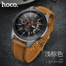 Original HOCO Brown Cowhide Watch Band for Samsung Galaxy Watch 42mm/46mm Genuine Leather Strap Retro Replacement Wristband