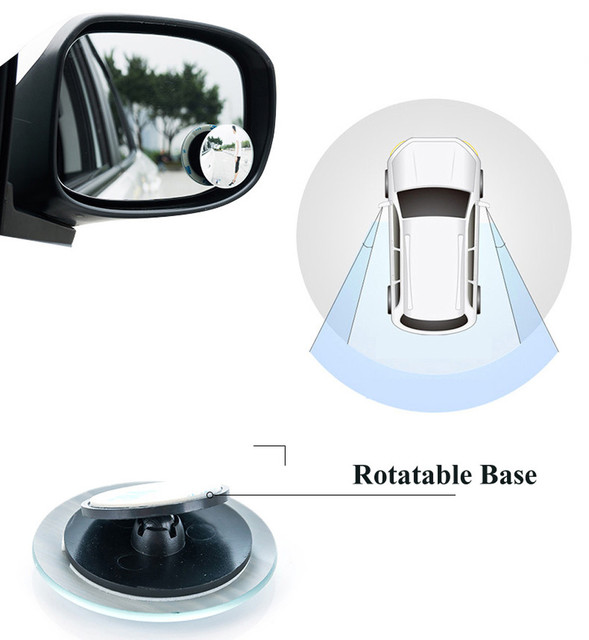 Dead Zone Car Mirror 360 Wide Angle Round Convex Mirror Car Vehicle Side Blind Spot Mirror Rimless RearView Mirror adjustable