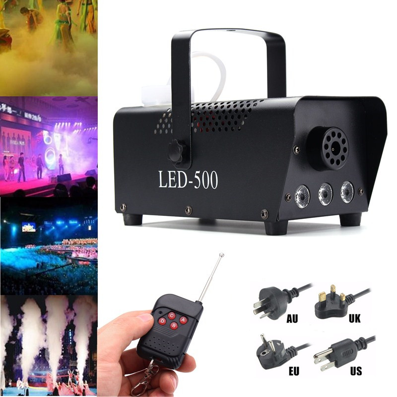 500W Professional Smoke Ejector Fog Machine RGB LED Night Light Stage Lighting Effect Remote Controller DJ Party KTV Bar Show